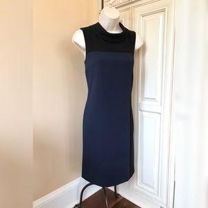 NEW! Talbots Blue Black Color Block Sheath Dress 6